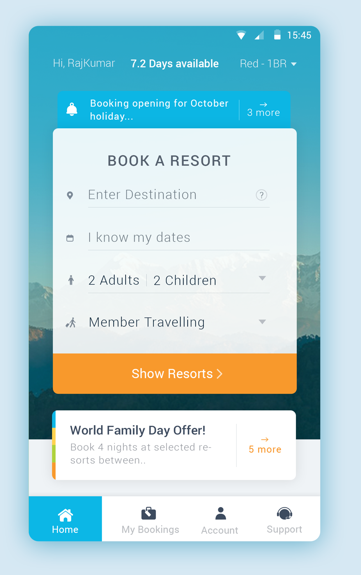 Conceived and designed a member mobile app for India's largest timeshare resorts company.
